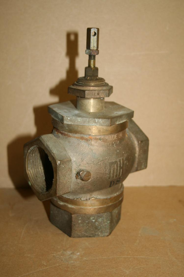 Globe valve 1 1/4 inch 3 way push pull brass MH 125