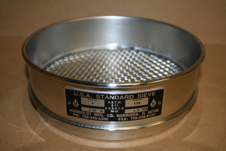 Sieve 8 in dia USA Standard No 4 4750 micron Humbolt Mfg Unused