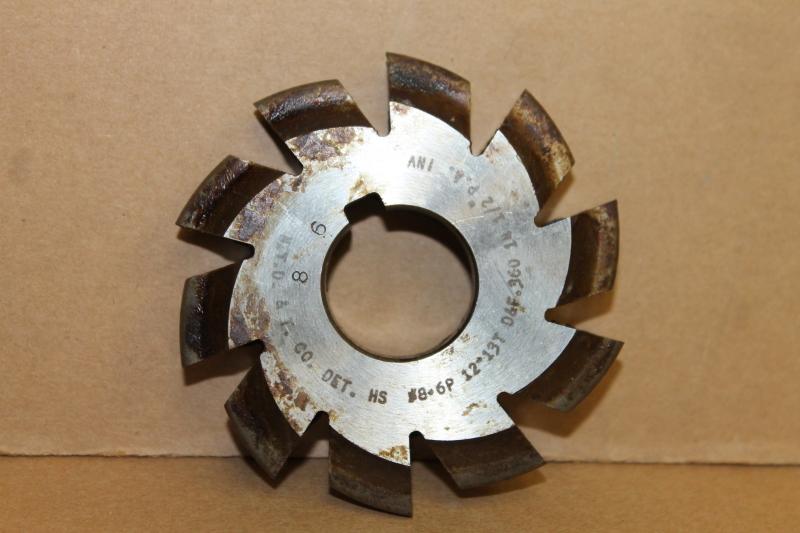 Convex Involute Gear Cutter, #8 6P 12-13T D&F .360, 14-1/2 PA, 1