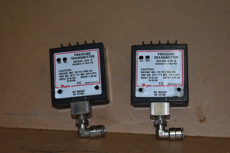 Pressure transmitter, 0-100psi, 4-20ma, 635-2, N10J, Dwyer, Lot of 2