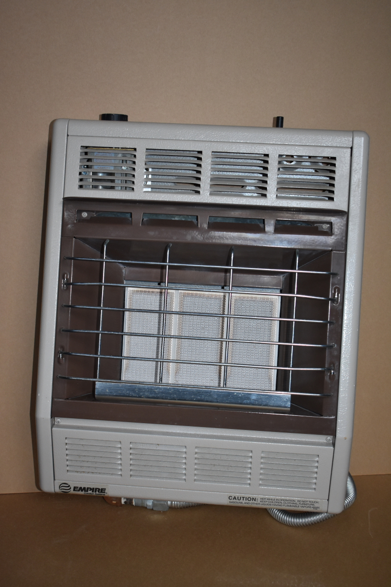 Infrared heater, 18K BTU, Natural gas, Thermostat, Wall mount Empire Made is USA