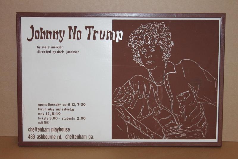 Johnny No Trump theater ad, silkscreen, vintage