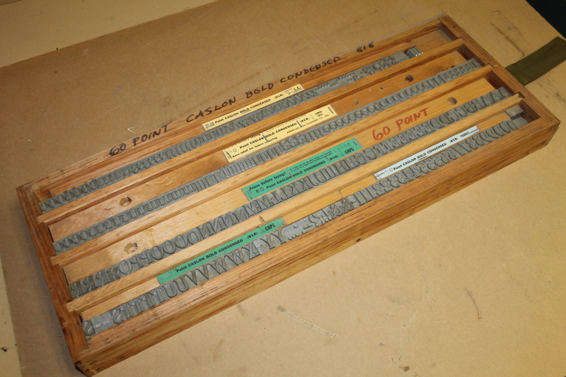 Type die set Caslon Bold Condensed 60 pt upper and lower hot foill stamping