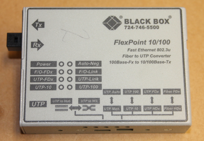 Black Box FlexPoint LMC100A-RJ Fiber to UTP Converter
