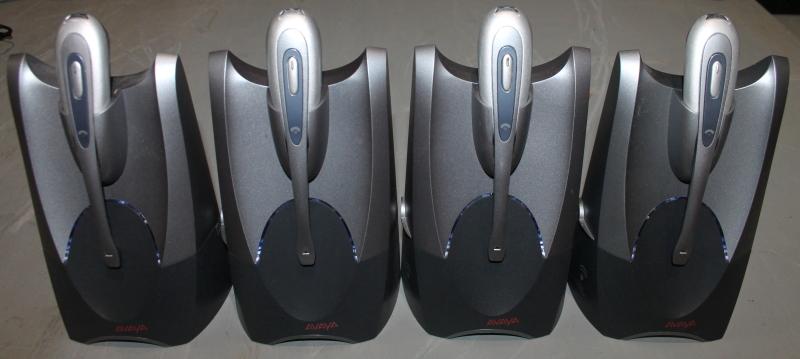 Lot of 4 Avaya AWH55+ Wireless Phone Headset, microphone, VoIP, analog