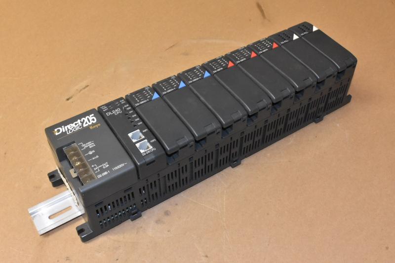 DirectLogic DL205 9-Slot PLC, D2-09B-1, DL240 CPU, D2-08NA-1 In, D2-08TR Out