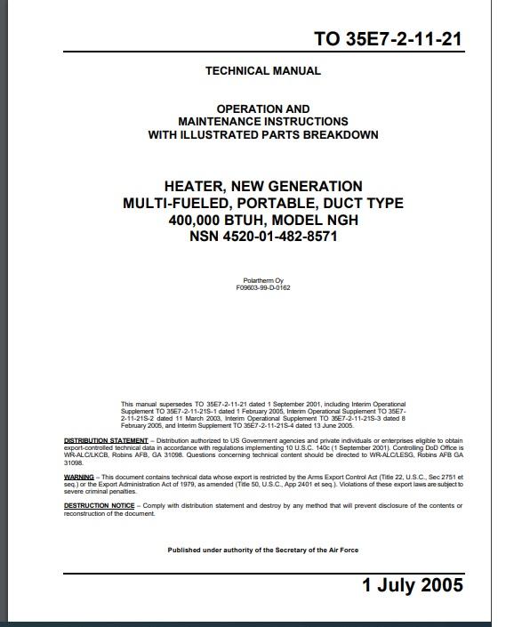 Polartherm manual for NGH 400,000 BTU heater